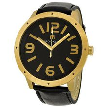Brooklyn Company De Kalb Black Dial Gold Tone Steel and Black Leather 1950GBG