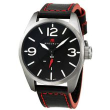 Brooklyn Company Lafayette Black Dial Black Red Accent Leather Swiss Quartz CLA-H