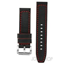 uBrooklyn Watch Co. Brooklyn Co Black Leather Band with Red Stiching CLA-H-ST