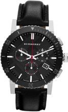 Burberry Black Dial Chronograph Black Leather BU9382