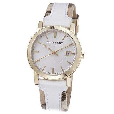 Burberry BU9015 Swiss Heymarket Check Fabric and White Leather Band White Dial