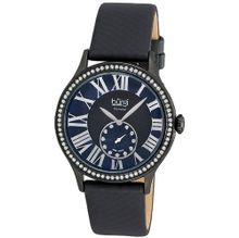 Burgi Black Ion-plated Swiss Quartz Diamond Strap Ladies BUR056BK