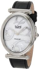 Burgi BU39BK Oval Case Swiss Quartz Diamond Classic Stainless Steel