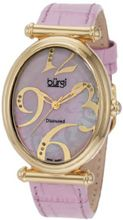 Burgi BU39PK Oval Case Swiss Quartz Diamond Classic Stainless Steel