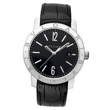 Bvlgari Bvlgari Automatic Black Dial Black Leather BB41BSLD