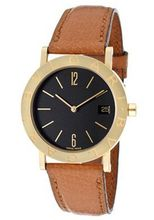 Bvlgari Bvlgari Black Dial 18kt Yellow Gold Brown Leather Strap Ladies BB33GLD