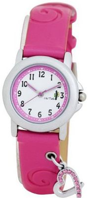 Cactus Girl's Quartz Analogue CAC-52-L05 with Pink Heart 11 Stones PU Strap