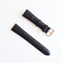 BANDA LEATHER WATCHBAND CROCODILE DUAL GRAIN LEATHER WATCH BAND WITH STAINLESS BUCKLE DESIGN-REAL ITALIAN CALF LEATHER-24 mm BLACK WITH GOLD BUCKLE