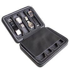 Black Soft Touch High Quality Leatherette Compact Travel Case With Suede Interior With 8 Compartments