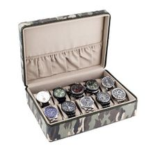 Box Display Storage Case with Camouflage Canvas Exterior Sandy Tan Interior Holds 10 es