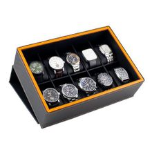Caddy Bay Collection Case Display Box Holds 10 Large es with Black Carbon Fiber Pattern Exterior and Lava Orange Trim