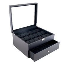Carbon Fiber Pattern Glass Top Case Display Box with High Clearance for Larger es Holds 36 es