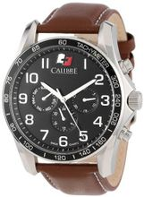 Calibre SC-4B1-04-007.1 Buffalo Round Stainless Steel 24-Hour Day Date Leather Band