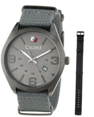 "Calibre SC-4T2-15-011 ""Trooper"" Gun Ion-Plated Stainless Steel with Two Interchangeable Straps"