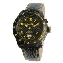 Carbon 14 E3.2 Earth 3H iBeam Tech Carbon and Yellow Dial