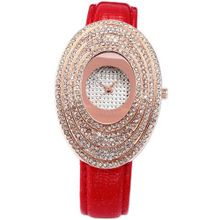 Carfenie Luxury Rose Gold Case Oval Lady Red Leather Crystal Analog Wrist CFE063