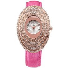 Carfenie Luxury Rose Gold Oval Lady Pink Leather Crystal Analog Wrist CFE064