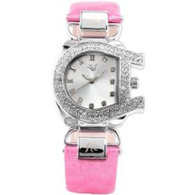 Carfenie Unique Steel Crystal Bezel Lady Pink Genuine Leather Quartz + Gift Box CFE042