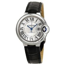 Cartier Ballon Bleu Automatic Silver Dial Stainless Steel Black Leather Ladies W6920085