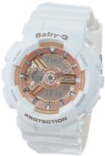 Casio BA-110-7A1CR Baby-G Pink Analog-Digital Display and White Resin Strap