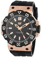 CAT D319121129 Deep Ocean Date Black Analog Dial and Rose-Goldtone Case with Black Rubber Strap