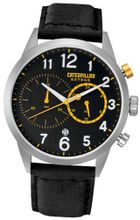 CAT Extend , Black / Yellow Dial and Black Leather Strap