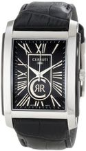 Cerruti 1881 CRB011E222B Firenze Black Textured Dial Black Leather