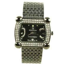 Charlie Jill in Black Dial Enchanted with Rhinestone Black Stainless Steel Bracelet