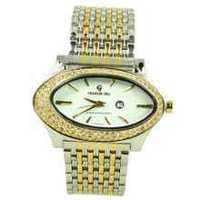 Charlie Jill in Silver Gold 2tone Dial Enchanted with Rhinestone and Stainless Steel Bracelet