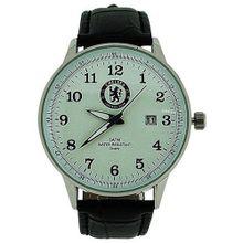 Chelsea FC Analogue Date Genuine Black Leather Strap Football GA3761