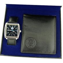 Chelsea FC Gents Black Leather Strap & Wallet Football Gift Set GA2435