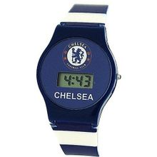 ChelseaFC Digital Date Blue & White Stripe Plastic Strap Boys Footy GA4463