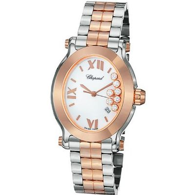Chopard Happy Sport Oval Ladies Rose Gold and Steel Diamond 278546-6003