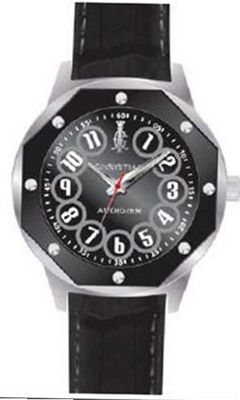 Christian Audigier Revo SWI-664 Black Leather Quartz with Black Dial