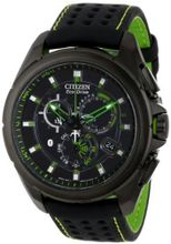 "Citizen AT7035-01E ""Proximity"" Eco-Drive Black Ion-Plated Stainless Steel with Nylon-Lined Leather Strap and Green Accents"