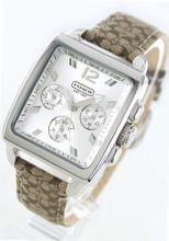 Coach 14501446 Silver Dial Leather Beige Jacquard Band Quartz