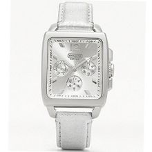 Coach 14501448 Leather Silver Strap Silver Dial