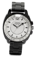 Coach Andee Boyfriend 14501348 Black Acrylic Bracelet and Case White Signature Logo Dial