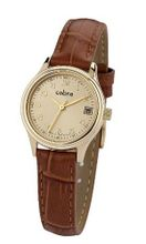 Cobra CO147SG3L3 Analog Quartz with Golden Dial and Gold Leather Strap