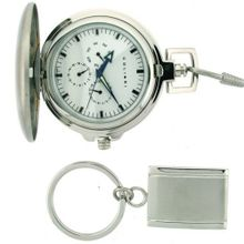 Colibri Gift Set Pocket Stainless Steel Collection with Chain Key Chain in Box PWQ096849S