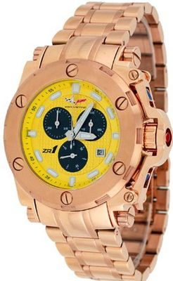 Corvette #CR220-MRG Rose Gold Tone Stainless Steel Yellow Dial Swiss Chronograph