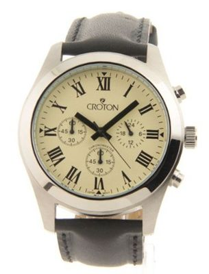 Croton Chronomaster Black Leather 3 Eye Light Yellow Sharp Dial Cc311306bspa