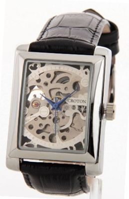 Croton Skeleton Automatic Movement Sharp Silver Rectangle Dial Black Leather Ci331066bssl