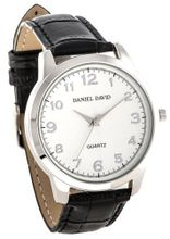 Daniel David DD10701 - Casual - Black Crocodile Pattern Leather Band & White Dial