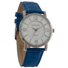 Daniel David DD11401 - Dress - Blue Genuine Leather Crocodile Pattern Band & White Dial