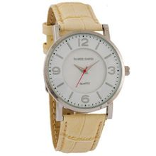 Daniel David DD11402 - Dress - Beige Genuine Leather Crocodile Pattern Band & Round White Dial