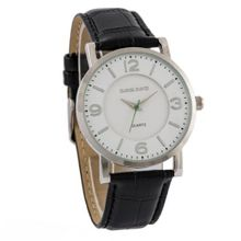 Daniel David DD11403 - Dress - Black Genuine Leather Crocodile Pattern Band & Round White Dial