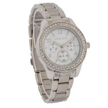 Daniel David DD11501 - Fashion Sport - Silver-tone Stainless Steel Bracelet and Rhinestone White Dial