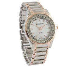 Daniel David `s DD11703 - Fashion - Two-tone Rose & Silver Bracelet & Crystal Accent Dial - Boyfriend Style