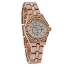 Daniel David `s DD12002 - Fashion - Rhinestone-Accent Dial and Rose Tone Bracelet